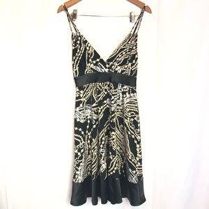 Express sz s black midi babydoll print dress beads
